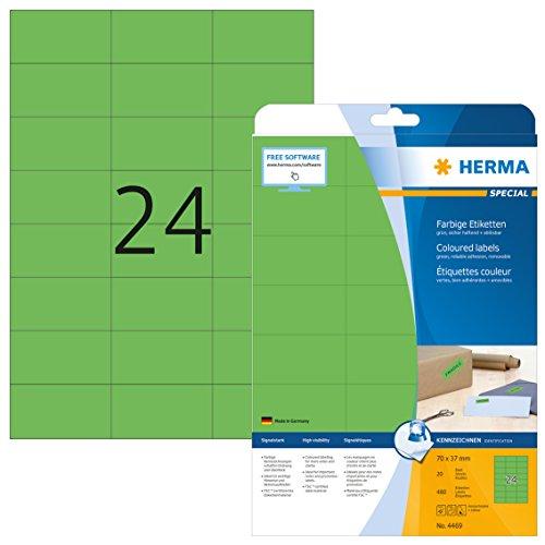 Herma 4469 Farbetiketten ablösbar (70 x 37 mm auf DIN A4 Papier matt) 480 Stück auf 20 Blatt, grün, bedruckbar, selbstklebend