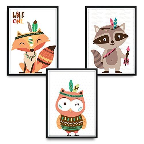 luvel® - 3er-Set Kinderzimmer Poster DINA4 für den Bilderrahmen (P17)