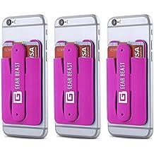 Gear bestia 3Pack teléfono celular cartera tarjeta de Crédito ID soporte con soporte para las mujeres y hombres, en tipo cartera para todos los teléfonos móviles como iPhone X 876s 6Plus Galaxy S8Plus S7S6edge Nota 85 hot pink