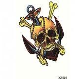 JUSTFOX - Temporäres Tattoo Totenkopf Piraten Schädel Anker