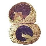 Schlafplätze & Möbel Haustier Nest Katzenstreu Sommer Katze Bett Waschbar Villa Doppel Rattan beigefügt Bananenblatt Katze Klettern Katze Haus Katze Spielzeug (Color : Yellow, Size : 48 * 48 * 62cm)