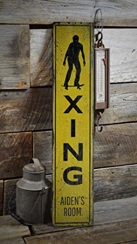 Burkeroan Skateboard Sign, Skate Crossing Sign, Son's Gift, Son's Room Decor, Wooden Sign, Skating Room, Rustic Plaque with Saying Wood Sign Decor -