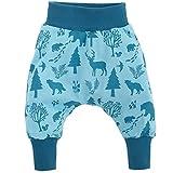 Pinokio - Wild Boy - Baby Hose 100% Baumwolle, türkis mit Waldtieren - Jogginghose, Haremshose, Pumphose, Schlupfhose - elastischer Bund (80)