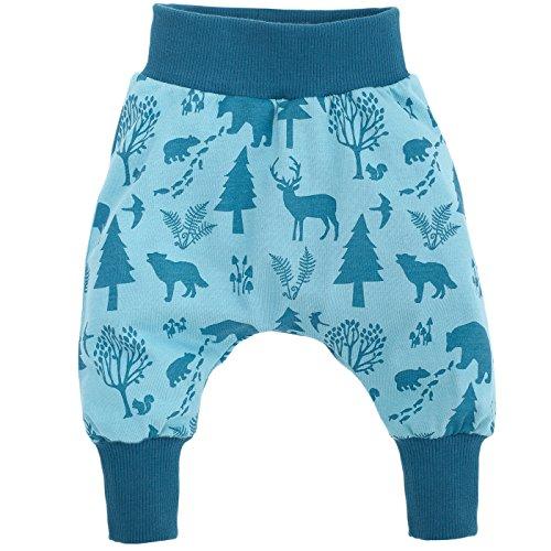 Pinokio - Wild Boy - Baby Hose 100{320c350d3c68ff7ec2a25945d19d19ef2bd2762ce92a13316aa7ee2a74b50a13} Baumwolle, türkis mit Waldtieren - Jogginghose, Haremshose, Pumphose, Schlupfhose - elastischer Bund (86)