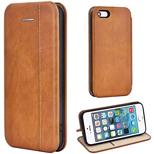 Leaum iPhone SE Hülle, iPhone 5S Handyhülle Lederhülle Flip Case für Apple iPhone SE /