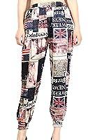 H&E Womens Casual Print Elastic Waist Summer Harem Pants S Black