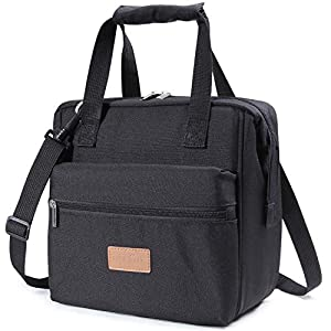 Lifewit Lunchtasche klein isoliert Kühltasche für Aufbewahrung von Essen Lebensmittel Mittagessen, Brotzeittasche für Büro / Schule / Picknick / Fitness (Schwarz 10L)