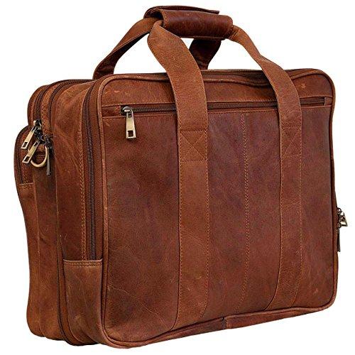 STILORD Vintage Umhängetasche Leder groß Ledertasche Aktentasche Lehrertasche Laptoptasche Büffel-Leder Cognac-Braun cognac - braun