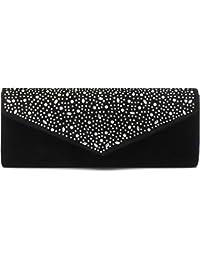 VINCENT PEREZ, Clutch, Abendtaschen, Umhängetaschen, Unterarmtaschen aus Samt mit Strassstein-Dekoration, mit abnehmbarer Kette (120 cm), 27x10,5x5,5 cm (B x H x T)
