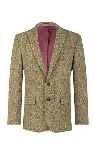 Veste de Costume Harris Tweed par Dobell Homme en Tweed Verte à Carreaux - 2 Boutons, Vert, 54 Standard