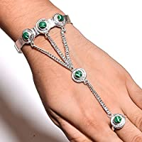 Indie Artisans NATURAL GREEN MALACHITE Gemstone 925 SILVER Overlay ADJUSTABLE RING BRACELET SET