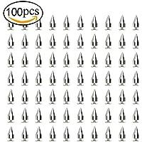 pingranso bala de plata cono spike y tornillo de metal trasera de piel Para DIY Artesanía 100 PCS 7mm x 15mm