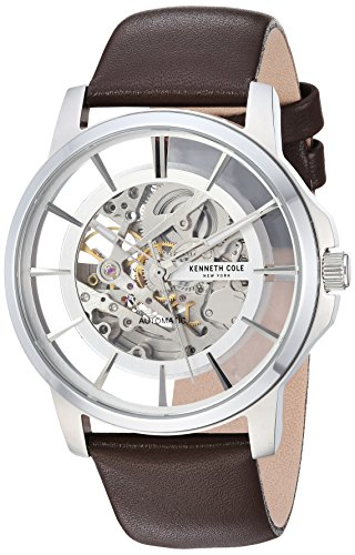 Kenneth Cole New York Men's Automatic Stainless Steel and Leather Casual Watch, Color:Brown (Model: KC50227004)