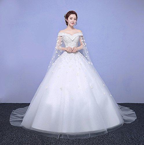 XM Hochzeitskleid-einfache Brautwortschulter dünnes dünnes V-Kragen-Spitze-großes...