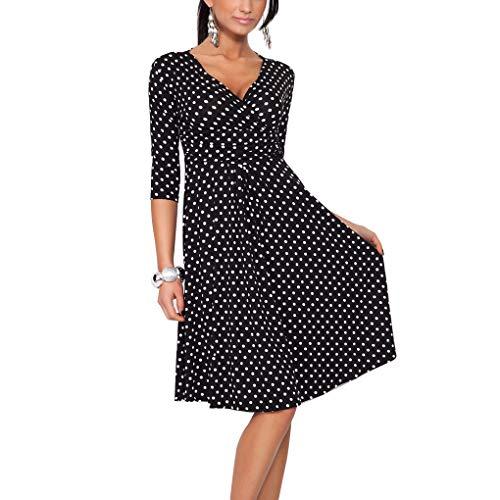fer V-Punkte-Frauen reizvolle Lange Kleid Mädchen mit hohen Taille Flowy Langarm Kleid ()
