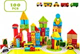 Liberty Imports 100 Piece City Transportation Building Blocks Colored Wooden Stacking Set Toy