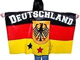 Un poncho qui représente le drapeau Un accessoire de déguisement original pour les supporters de matchs sportifs.D'une grande visibilité, il est idéal pour se faire remarquer depuis les tribunes.Drapé avec manches à enfiler.les couleu, choisir:UF-01 Allemagne