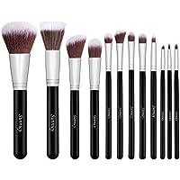 Sunnicy 12 pezzi Set di pennelli premium sintetici Kabuki per il make up per fondotinta miscelare blush eyeliner cipria - Nero argentato
