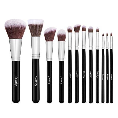 12 Pcs QG professionnel naturel synthétique Premium maquillage Kabuki Brush Set Cosmétique Fondation Blending Blush Eyeliner Poudre pour le visage Kit de brosses de maquillage de brosse avec étui gratuit - Noir Argent