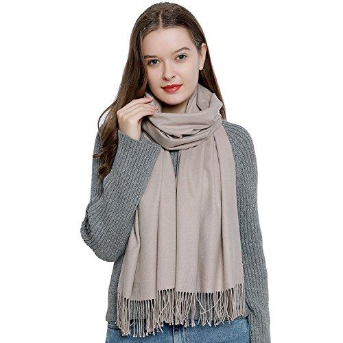 Bufanda de invierno grande para mujer 185 x 65 cm liso suave y cálido - beige