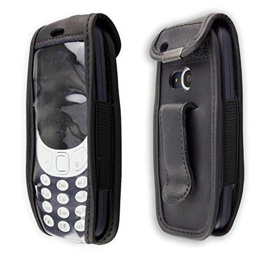 caseroxx Handy-Tasche Ledertasche mit Gürtelclip für Nokia 3310 2G (2017) aus Echtleder, Handyhülle für Gürtel (mit Sichtfenster aus schmutzabweisender Klarsichtfolie in schwarz)