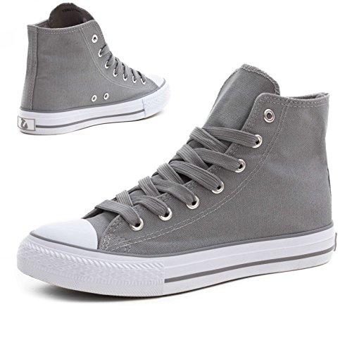 Klassische Unisex Damen Herren Schuhe Low High Top Sneaker Turnschuhe Grau/Weiß High