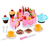 54 Stück Kuchen und Tee Becher Set,Tomasa Kinderspielzeug Kitchen Spielzeug Kunststoff DIY Frucht Kuchen Geburtstagstorte Spielset (Pink)