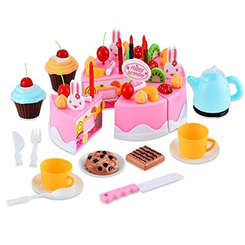 Profun 54 Stück Küche Spielzeug Regenbogen Geburtstagstorte Essen Kinder Vortäuschen Kuchen-Tee-Set Geburtstagskuchen Geschenk für Kinder Mädchen