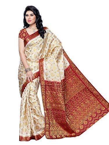 Mimosa Women\'s Silk Saree (65-Hlfwhitemarun,Multi-Coloured,Free Size)