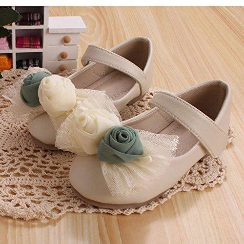 Scothen Princesse nounou bébé ballerines élégantes Party Chaussures enfants Chaussures de danse Fleur chaussures en cuir étudiant fille chaussures de danse chaussures papillon boucle de partie Beige