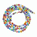 NBEADS 5hebras (Sobre 69pcs/Strand) Hecho a Mano Millefiori Cristal Bead Strands Mixed Color 16Inch 6mmx4mm, Agujero: 1mm