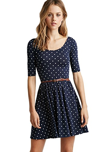 Dantiya Damen Frau Mädchen Cute Wave-Punkt Binden-Bund Rundausschnitt Kleid (L:Brüste:88, Blau) Kleid Für Reife Frauen