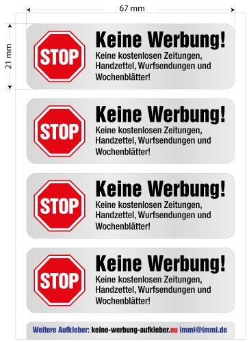 4 Keine Werbung Aufkleber in Edelstahl-Look - 3