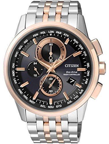 Reloj-CITIZEN-Eco-Drive-RADIO-CONTROLLED-AT8116-65E-Reloj-de-caballero-correa-de-acero-plateado-y-bisel-cobre