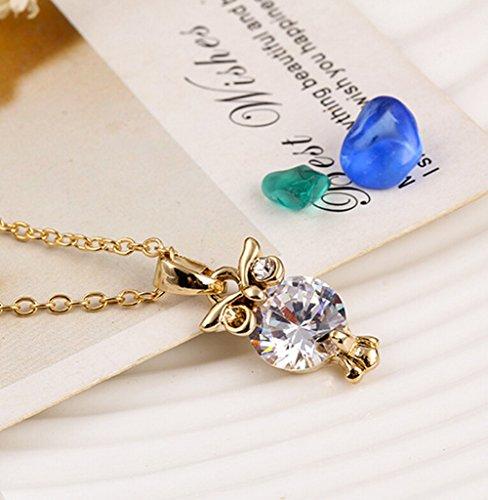 Hosaire 1 pcs Halskette Mode Eulen-Form Schmuck Anhänger Necklace Schlüsselbein Kette - 5