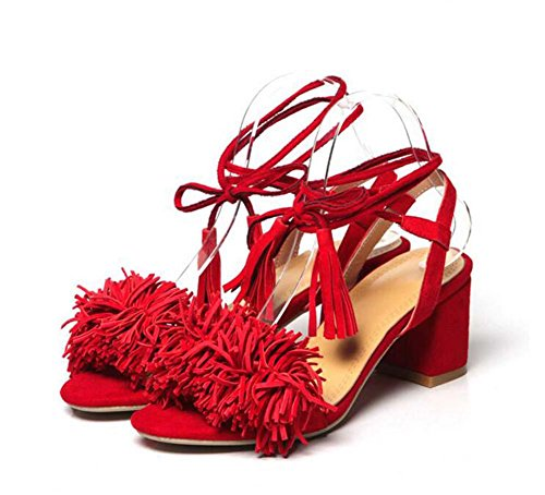 Onfly Donne Nappa Sandali Heel medio Cinturino alla caviglia Cinghie traverse Aprire il piede Suede Scarpe Red