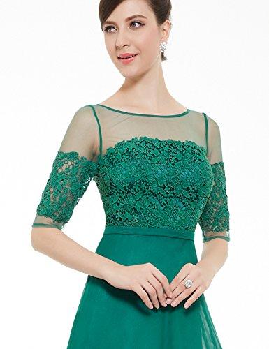 Ever Pretty Robe de soir¨¦e longue en demi-manches et le col en lace translucide 08459 Gris