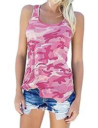 c8c03294c4041 Guiran Mujer Camuflaje Camisetas Tirantes Sin Mangas Camisas Blusas Vintage T  Shirt Tops Pink 2XL
