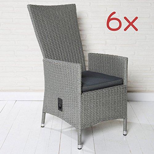 6x Poly Rattan Gartensessel Gartenstühle Stühle hellgrau hohe Rückenlehne Sessel