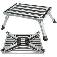 Taburete Plegsable Aluminio Escalon Antideslizante para Caravana Remolques Para Autocaravanas SUV(Capacidad Máxima Peso 250Kg)