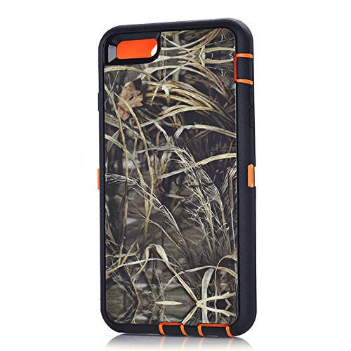 MOONCASE iPhone 6S Plus Coque, Realtree Camo Housse Hybride Etui Protection de Couche 3 d'Armure Lourde Rigide Anti chocs Absorption des Chocs Case avec Béquille pour Apple iPhone 6 Plus / 6S Plus 5.5 Orange Grass