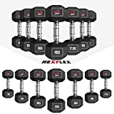 Hex Dumbbells Rubber Encased Ergo Weight Set Hexagonal Dumbbell Gym Fitness (Pair)