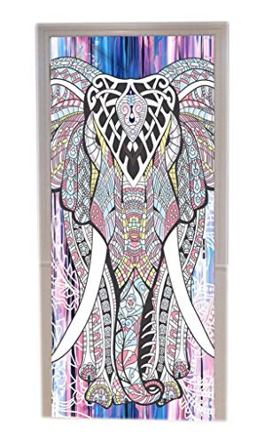 A.Monamour Pegatinas De Pared Indio Hippie Mandala Elefante Tribu Tatuaje Patrón Imprimir Vinilo De La Puerta Calcomanías Papel Tapiz Murales De Pared Puerta Pegatinas Carteles Decoraciones