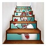 SERFGTFH Wall Sticker Schneemann Kamin Selbstklebende Sticker Weihnachten Treppe Home Decor