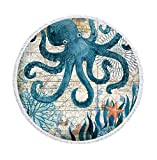 Dtuta Picknickdecke Wasserdicht Groß,Yogamatte,Teppich,Europa Und Amerika Retro-Runde Gedruckt Strandtuch Mikrofaser Schwimmbad Kissen Schnell Trocknend SchildkröTe Krake