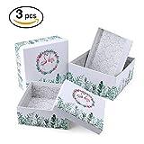 VEESUN Geschenkboxen 3 Set Verschiedene Größen, Luxus Präsentation Geschenkkarton mit Deckel, Dekorative Pappschachteln für Hochzeit Kindergeburtstag Geburtstagsgeschenk Freund sie, Flamingo