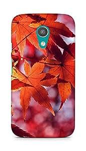 Amez designer printed 3d premium high quality back case cover for Motorola Moto G2 (Fall leaf red mountain bokeh)
