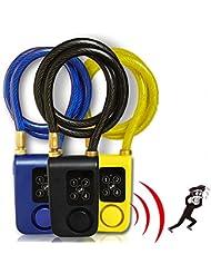 cqjdg nuevo digital digital Lock anti robo de función de alarma 4Contraseña Candado de combinación con cable con alarma 105dB Negro negro
