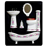 5Pcs YOURBETTER Set Dollhouse Miniature Ceramic Bathroom Supplies Suites 1:12 Scale