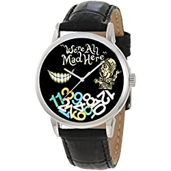 RARE ALICE IN WONDERLAND ADULT-SIZE SYMBOLIC WE'RE ALL MAD HERE CHESHIRE CAT, MAD HATTER WATCH